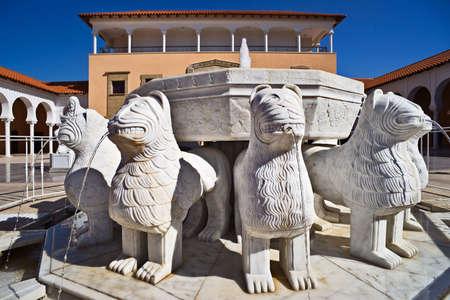 ralli: The Lions fountain in Ralli museum yard, Caesarea, Israel Stock Photo