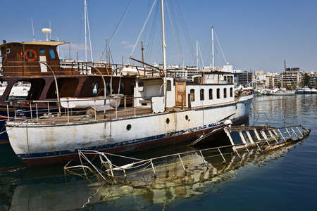 zea: Sunk ship in Marina Zea, Piraeus, Greece