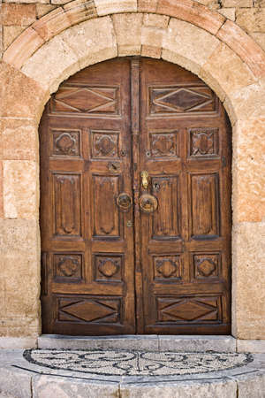 Muslim Library door, old town of Rhodes, Greece photo