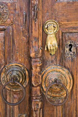 Handle of the Muslim Library door, old town of Rhodes, Greece photo