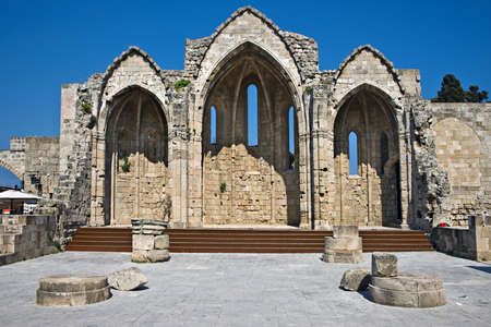 rhodes: Romanic basilica ruins, old town of Rhodes, Greece