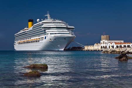rhodes: Cruise liner next to Rhodes sea coast, Greece
