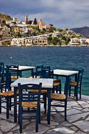 seacoast: Seaside coffee-house, Symi, Greece