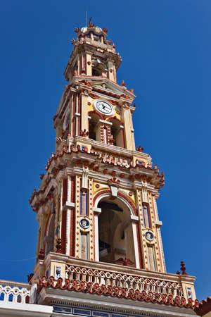 Panormitis monastery bell tower, Symi island, Greece