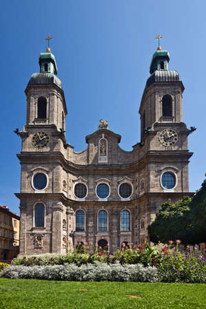 Dom St. Jakob facade, Innsbruck, Tyrol, Austria Stock Photo