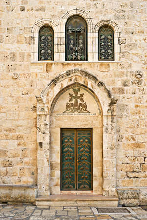 sepulcher: Side door of the Holy Sepulcher Church, Old City of Jerusalem, Israel