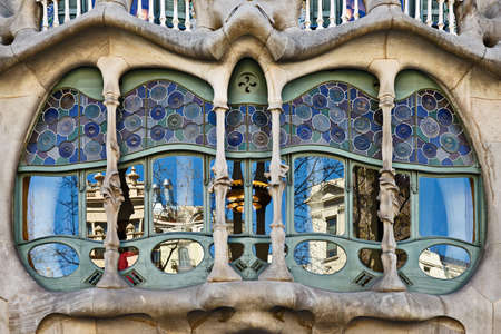 Casa Batllo bay window, Barcelona, Catalonia, Spain