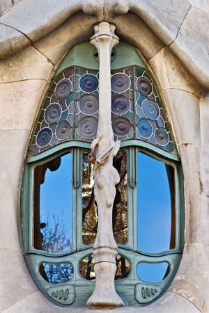 Casa Batllo window, Barcelona, Catalonia, Spain