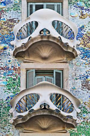 casa: Casa Batllo balcony, Barcelona, Catalonia, Spain Stock Photo