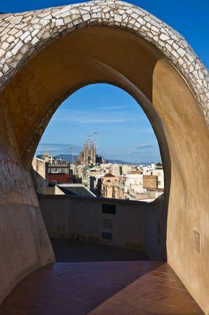 Sagrada Familia view from Casa Mila, Barcelona, Catalonia, Spain Stock Photo
