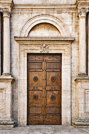 urbanism: The Pienza Duomo (Cathedral) door, Tuscany, Italy