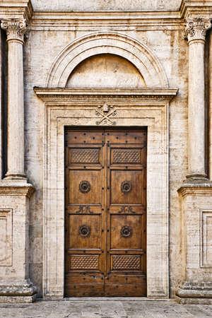 The Pienza Duomo (Cathedral) door, Tuscany, Italy