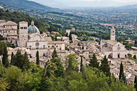 View of Assisi Cathedral of San Rufino and Basilica di Santa Chiara, Umbria, Italy Stock Photo