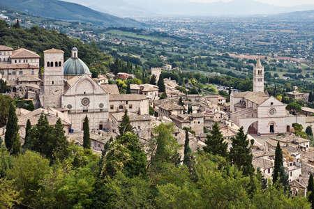 View of Assisi Cathedral of San Rufino and Basilica di Santa Chiara, Umbria, Italy Stock Photo