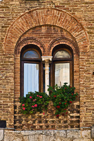 San Gimignano windows, Tuscany, Italy photo