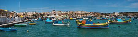 Panoramic view of the fishing village Marsaxlokk, Malta