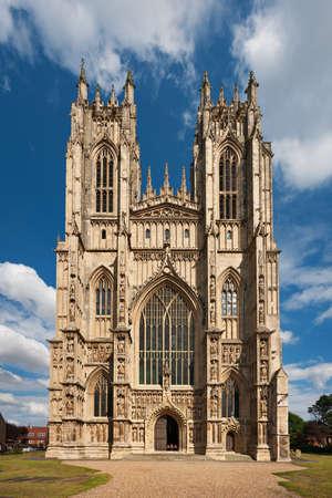 perpendicular: Facciata della Cattedrale di Beverley, Yorkshire, Inghilterra Archivio Fotografico