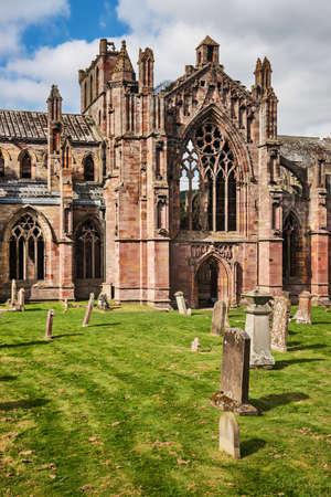 abbey ruins abbey: Melrose Abbey ruins, Scottish Borders