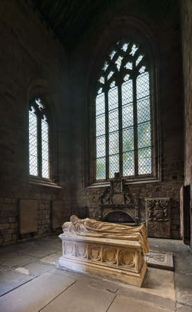 gothic window: Tomb in Jedburgh Abbey, Scottish Borders