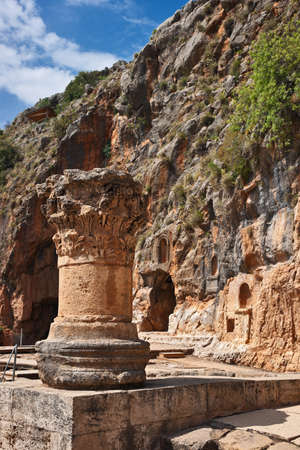 banias: Ruins of  temple dedicated to Pan, ancient city of Caesarea Philippi, located at the foot of Mount Hermon in the Golan Heights, Israel