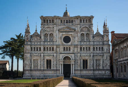 Church facade of the monastery complex Certosa di Pavia, Province of Pavia, Lombardy, Italy Stock Photo
