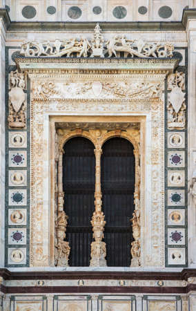 Church façade decorations, Certosa di Pavia monastery complex, Italy Stock Photo