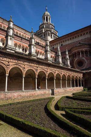 Certosa di Pavia monastery cloister, Lombardy, Italy Stock Photo