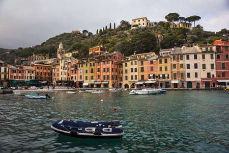 View over picturesque harbor of Portofino, an Italian fishing village and upmarket resort Stock Photo