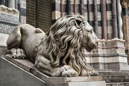 Genoa Cathedral decoration - lion sculpture next to the portal, Genoa, Liguria, Italy Stock Photo