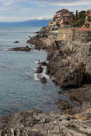 Seaside promenade of Nervi, a former fishing village, a seaside resort in Liguria, a neighborhood of Genoa   Stock Photo
