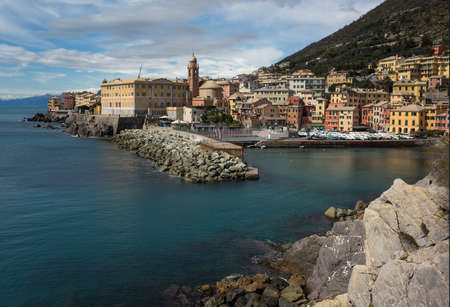 View over harbor of Nervi, a former fishing village, a seaside resort in Liguria, a neighborhood of Genoa