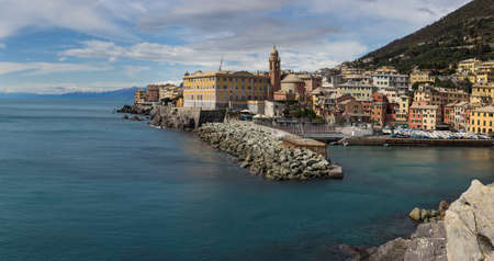 Panoramic view over harbor of Nervi, a former fishing village, a seaside resort in Liguria, a neighborhood of Genoa   Stock Photo