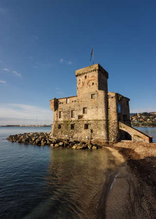 Small fortification in Rapallo is resort town in the Tigullio Gulf, the province of Genoa, Liguria, Italy