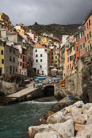 Marina in Riomaggiore, a village and comune in the province of La Spezia in the Liguria region of Italy  It is the one of the Cinque Terre villages
