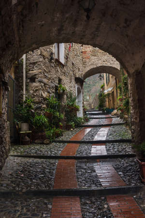 Street in in Dolceacqua is a scenic medieval town in the Province of Imperia, Liguria, Italy