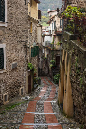 Narrow streets in Dolceacqua is a scenic medieval town in the Province of Imperia, Liguria, Italy