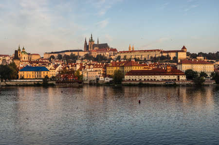 Panoramic view over the Prague Castle with the St  Vitus Cathedral and New Town, Prague, Czech Republic