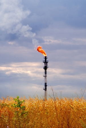 Flame from a tower on a wheaten field photo