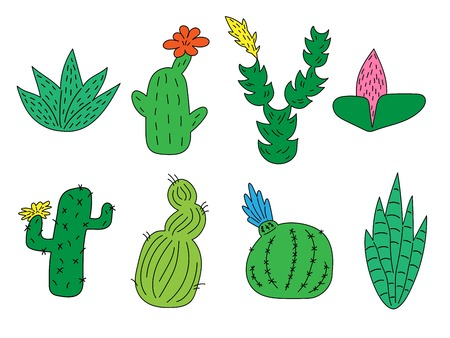 Set of hand drawn cute funny cacti and succulents. Isolated objects on white background. icons, emoticons, stickers.