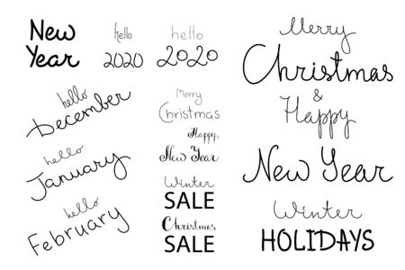 Hand set lettering winter months. New year sale holidays. 2020