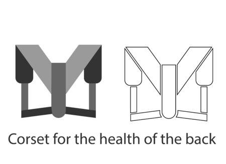 Lumbar corset belt for a healthy back. Line and fill illustration. Banco de Imagens - 140713629
