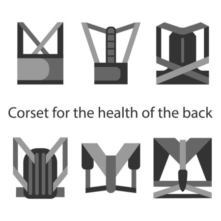 Medical corset for posture and a healthy back. Set of six different types. Line illustrations.
