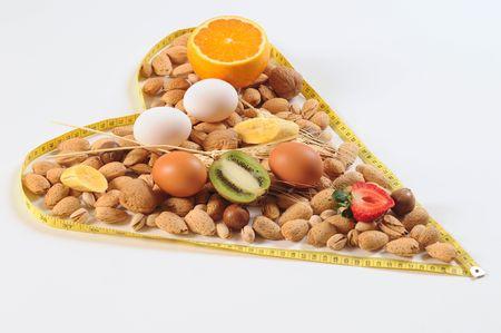 Healthy heart with balanced food. photo