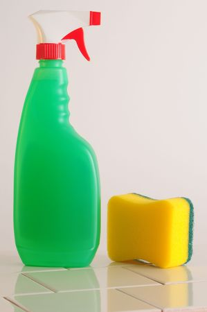 domestic task: Spray container with sponge.