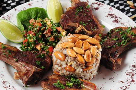 middle eastern food: Lebanese dish with lamb ribs. Stock Photo