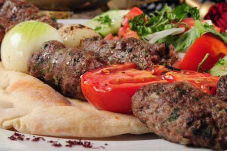 kabab: Shish kebab.