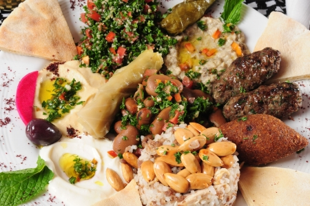 Variety of arabic food. photo