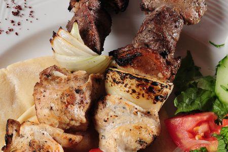 Mixed shish kebab. photo