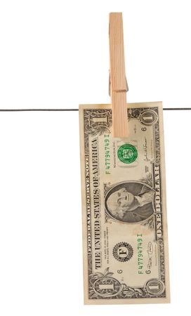 One dollar bill. path. photo