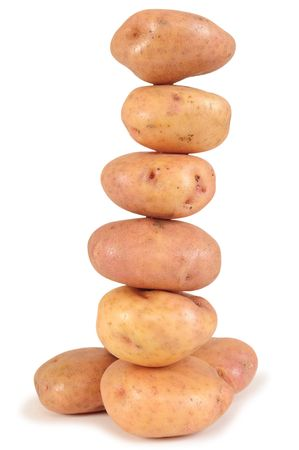 unprepared: Potato tower. Stock Photo